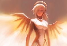 Dr. Angela Ziegler (Overwatch) by Alex-Chow female cyborg robot angel halo wings Valkyrie armor clothes clothing fashion player character npc | Create your own roleplaying game material w/ RPG Bard: www.rpgbard.com | Writing inspiration for Dungeons and Dragons DND D&D Pathfinder PFRPG Warhammer 40k Star Wars Shadowrun Call of Cthulhu Lord of the Rings LoTR + d20 fantasy science fiction scifi horror design | Not Trusty Sword art: click artwork for source