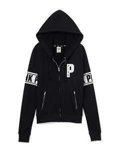 VS PINK Perfect Zip Hoodie(Black)-Perfection in a hoodie: super comfy,waist length and a cute slim fit.