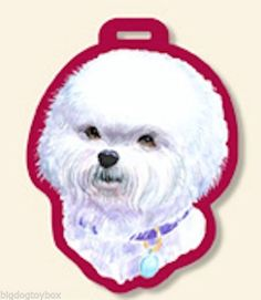 Bichon Frise Luggage Tag for Purses, Golf Bags, Gym Bags Backpack Great Gift
