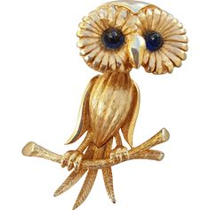 Vintage 1960s Owl Brooch Trembler Head. Ruby Red Tag Sale 50% Off  at Toinette's. Sale starts Fri Nov 25th at 8:00 AM Pacific Time.