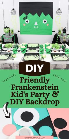 Set up a not-so-scary Friendly Frankie Frankenstein-Themed Halloween Party for Kids with an easy DIY masking tape party backdrop! Get details and step-by-step instructions now at fernandmaple.com! Creepy Halloween Party, Halloween Party Themes, Diy Halloween Decorations, Diy Backdrop, Backdrops For Parties, Diy Party, Party Ideas, Masking Tape, Frankenstein