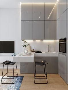 modern kitchen design Just the perfect small corner kitchen - contains lots of storage without loosing its light and airy look - Kitchen Design Small, Interior, Apartment Interior, Kitchen Decor, Kitchen Table Settings, Kitchen Layout, Minimalist Kitchen, Modern Kitchen Interiors, Kitchen Table Lighting