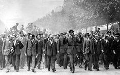 The triumphal parade led by Gen. Charles De Gaulle down the Champs-Elysées after the liberation of Paris, August 26th, 1944
