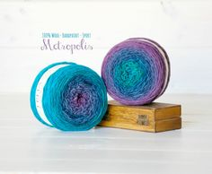 2 Hand Dyed Yarn Balls - 100% Wool - Color: Metropolis Ombre - 1Ply Sport Yarn - Colorful Soft Yarns by Freia - 2 Balls - Peacock Ombre Yarn