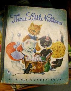 Little Golden Book #1, Three Little Kittens with Blue Binding.