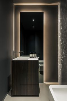 To often lighting a bathroom is low on the list of priorities relative to other rooms in the house. But, as you can see, proper lighting is… Luxury Interior, Interior Architecture, Beautiful Houses Interior, Minimalist Apartment, Interior Design Studio, Sliding Glass Door, Luxury Apartments, Bathroom Interior, Kitchen Interior