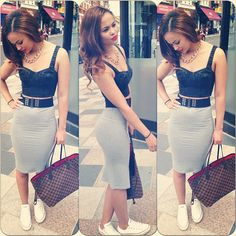 Midiskirt. Crop top. Converse. Outfit. Fashion: gray skirts