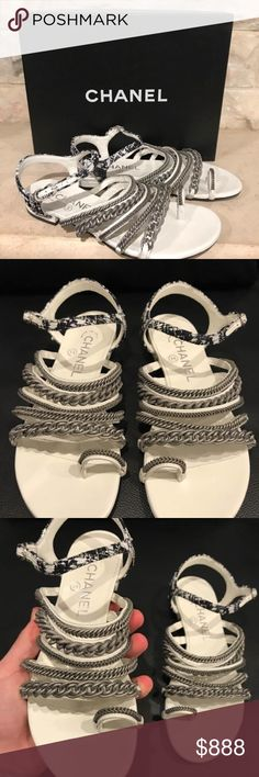 Chanel 15S Black White Leather Chain Silver Chanel 15S Black White Leather Chain Silver Gladiator Sandal Flats 36C $1175  ********** Chanel **********  Brand: Chanel Size: 36C (know your Chanel size)  Name: Gladiators Color: Black/White Style: Thong Flats Style#: G30831X02443 Material: Iridescent Fantasy Tweed Retail: $1175+tax White leather Black tweed strap Chains silver gladiator front Back CC logo Adjustable ankle strap Brand new in box, comes with original box and dustbag CHANEL Shoes…