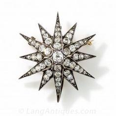 Victorian Starburst Brooch/Pendant - Rose Cut Retrospective - Vintage Jewelry