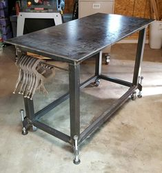 Welding table with leveling feet. More
