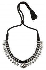 Silver Leaf Motif Jaali Bead Drop Thread Necklace