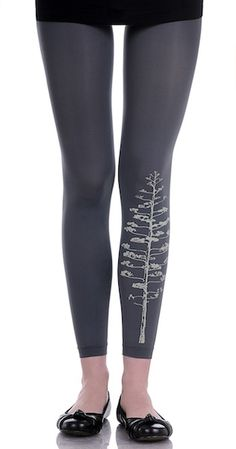 The Grey sketch print that appears on the left leg of these Black designer tights adds a simple but noticeable statement.$29.95