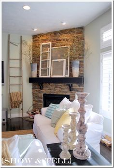 Corner Fireplace.  Lets the TV be centered with furniture, yet still a focal point.