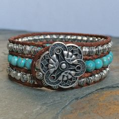 3 Row Leather & Turquoise Boho Cuff by BohoJewelryBoutique on Etsy