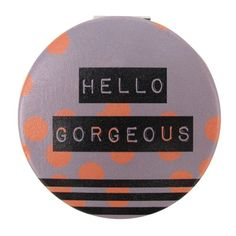 Hello Gorgeous Compact Mirror (13 CAD) ❤ liked on Polyvore featuring beauty products, beauty accessories, travel toiletry case, makeup purse, dop kit, disaster designs and travel bag
