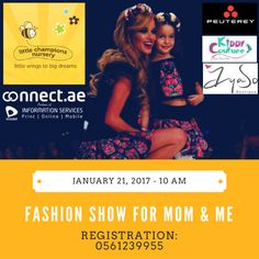 #UAE Moms: Want a fun activity to do with your kids on January 21st?  Check out this Mom & Kids  #FashionShow from Little Champions Nursery Dubai​   Invite Registrations from all the Moms in Dubai to walk the ramp Prizes Sponsored by Peuterey​, Kiddy Couture​ , ayaso Boutique​ #Dubai  REGISTRATION: 0561239955