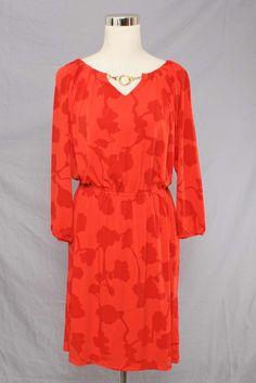 Dana Buchman Red Patterned 3/4 Sleeve Jersey Tunic Dress Size S 808 L315