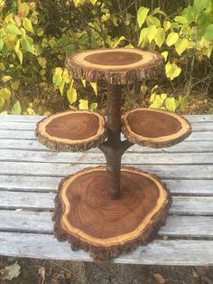Large Log Elm Wood Rustic Cake Cupcake Pie  Stand Wedding party shower wooden 4 tiered cross