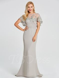 TBDress - TBDress Mermaid Scoop Cap Sleeves Beading Lace Floor-Length Evening Dress - AdoreWe.com