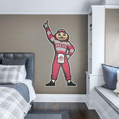 Shop College Sports Ohio State Buckeyes at Fathead Ohio State Mascot, Ohio State Decor, Ohio State Wreath, Ohio State Buckeyes, Buckeyes Football, Wall Stickers, Wall Decals, Man Cave, New Homes