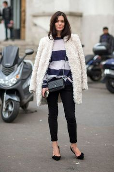 Shearling Jacket, Chanel Bag and Stripes | Street Style