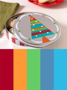 color palette inspiration with bright colors - great for holiday and Christmas craft painting projects! also the how to on this gift giving cookie tin