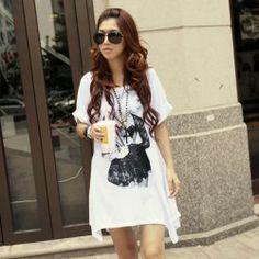 Loose-Fitting Scoop Neck Fashion Women Print Hidden Pocket Design Irregularity Hem Short Sleeve Dress For Women