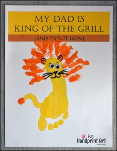 My Dad is King of the Grill - Footprint Lion #fathersdaycraft