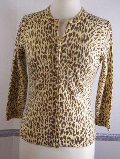 J.Crew Sweater Medium 100% Wool Cardigan Animal Print  #JCrew #Cardigan