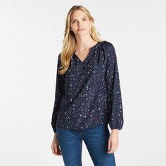 CONSTELLATION PRINT Ruffled TOP Off Duty, Ruffle Top, Constellations, What I Wore, Shirt Blouses, Long Sleeve Tops, Dress Up, Casual, Sleeves