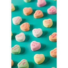 Candy Conversation Hearts for Valentine's Day ❤ liked on Polyvore featuring photos, valentines and backgrounds