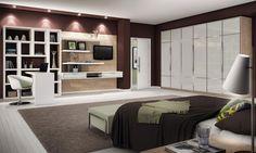 Dormitório Casal - Cânion Rústico e Vidro Bege