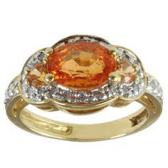 Michael Valitutti 18k Yellow Gold Spessartite Garnet and Diamond Ring