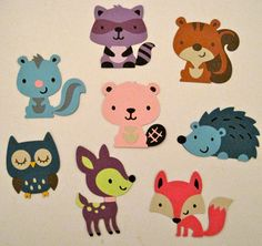 Set of 8 Woodland Creatures Die Cuts by tamarajane13 on Etsy, $4.00