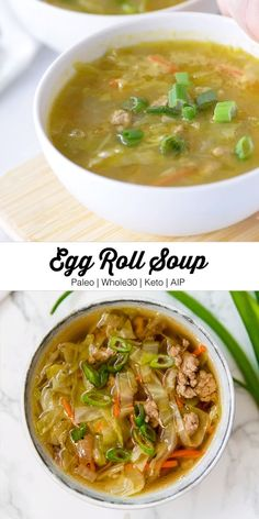 Weight Watchers Recipes Discover Egg Roll Soup This paleo egg roll soup is a nourishing a delicious cold-weather dish that features all of the flavors of an egg roll without the wrapper! Its AIP keto and compliant. Paleo Soup, Paleo Diet, Paleo Chicken Soup, Vegan Soups, Vegetarian Paleo, Soup Recipes, Diet Recipes, Healthy Recipes, Smoothie Recipes