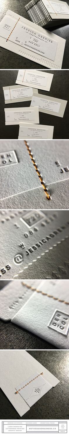 Letterpress printed business cards with wave rule die cut label, embossing and stitching. Design by Roger Maynor.