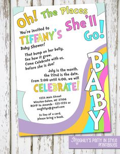 Oh, The Places You'll Go - baby shower invitation. $8.00, via Etsy.