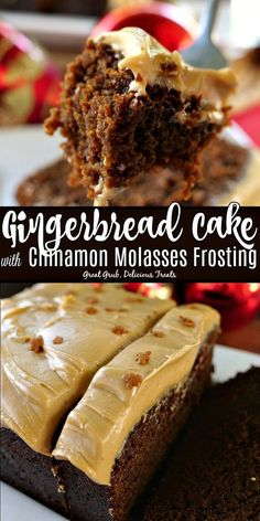 Gingerbread Cake with Cinnamon Molasses Frosting Gingerbread Cake with Cinnamon Molasses Frosting is a deliciously moist gingerbread cake recipe that tastes amazing with a delicious molasses frosting. Holiday Cakes, Holiday Baking, Christmas Desserts, Christmas Baking, Italian Christmas, Molasses Cake, Molasses Recipes, Baking Recipes, Cake Recipes
