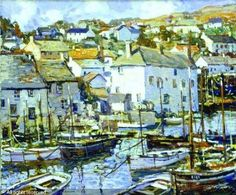 """""""Newlyn Harbor, Cornwall,"""" Walter Elmer Schofield, oil on canvas, x private collection. Mousehole Cornwall, West Cornwall, Fishing Villages, Watercolours, Great Britain, Impressionism, Painters, Landscape Photography, Oil On Canvas"""