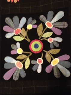 hand applique wool flowers