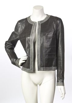 A Chanel Grey Distressed Leather Jacket
