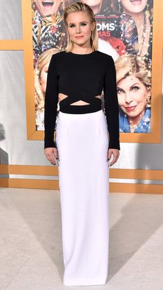 Kristen Bell in a black and white cutout Michael Kors dress
