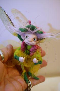 ooak poseable happy little PIXIE FAIRY w/ acorn hat ( #10 )pixie elf polymer clay art doll by DinkyDarlings by DinkyDarlings on Etsy