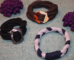 T-shirt upcycled into bracelets