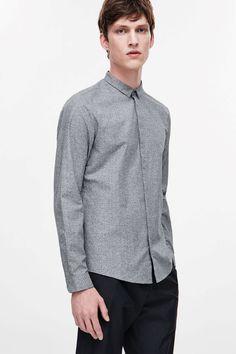 COS image 2 of Press stud jacquard shirt in Grey Light