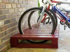 DIY Bike Rack - Each of us has different needs and material m . - DIY Bike Rack – Each of us has different needs and material options, but different tastes and hom - Pallet Bike Racks, Diy Bike Rack, Bicycle Rack, Diy Rack, Bike Stand Diy, Wood Bike Rack, Bike Storage Stand, Bike Stands, Bike Holder