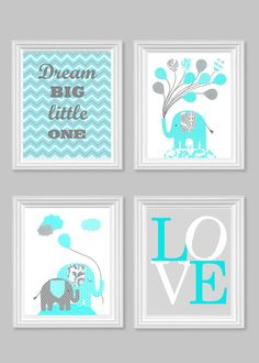 Dream Big Little One Elephant Nursery Art Gray Aqua Citron Yellow Orange Pink Baby Shower Gift Love 8 x 10 or 11 x 14 #nursery #decor #wallart