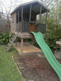 Fabulous Elevated Timber Cubby House with Slide | eBay