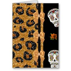 #RAB #Rockabilly Gold Leopard Print Sugar Skulls Cards by Lee Hiller #Photography and Designs