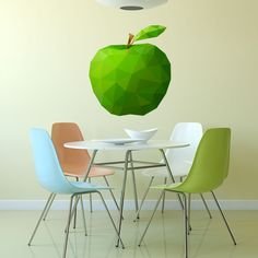 Sticker Pomme Verte Low Poly Low Poly, 3d Design, Eames, Sticker Design, Floor Rugs, Accent Chairs, Flooring, Wall, House